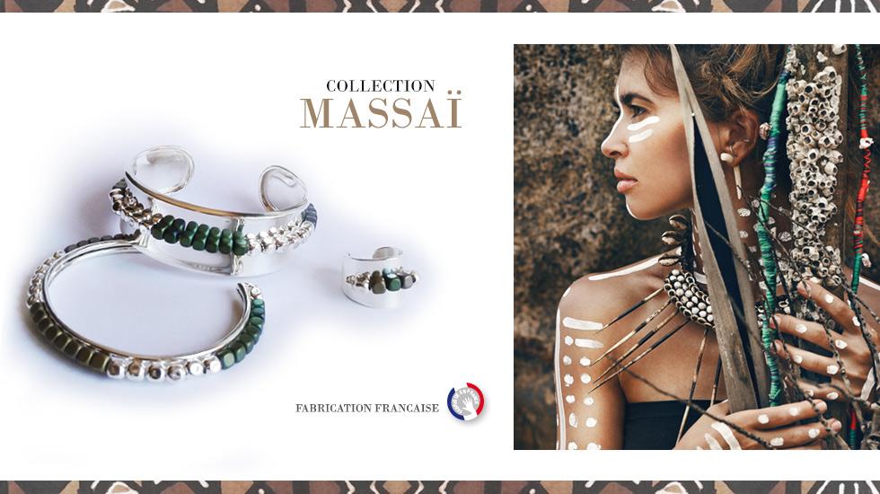 Collection MASSAI, bijoux Argent ethnique-chic fabriqués en France artisanalement.