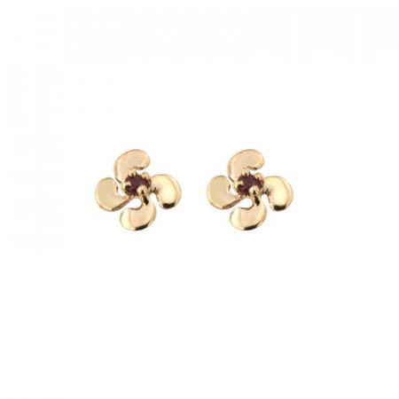 Boucles d'oreilles Croix BASQUE PALME PM Or jaune 375°°° RUBIS 6x6mm