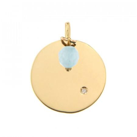 Médaille Or 375 Pierre de Naissance Diamant MARS - Jade bleu clair