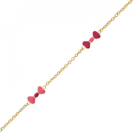 Bracelet fillette en Or noeud rose