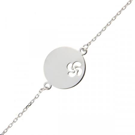 Gourmette bébé médaille croix basque Or blanc 375°°°