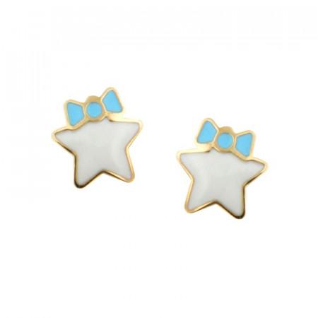 Boucles oreilles ETOILE Or 9 carats bleu