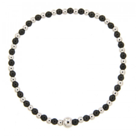 Bracelet Argent BOULE LIGHT 3 élastique - Bicolore noir