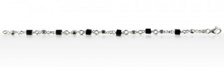 Bracelet Argent CUBE NOIR/Argent