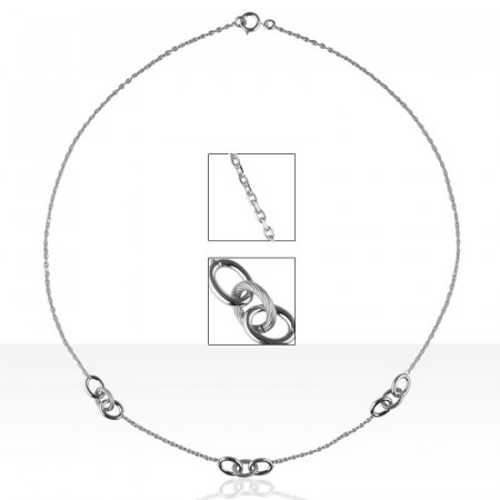 Collier Argent 3 ESCLAVES PM  40CM