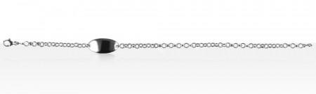 Bracelet Argent ID JASER PM/PLAQUE OVALE PM