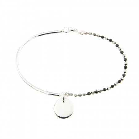Bracelet Argent EPURE Semi-articulé FR20/Ble Bic Ruthénium - Disque D12