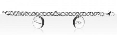 Bracelet Argent 2 Médailles PP à graver