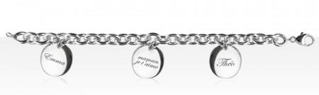 Bracelet Argent 3 Médailles PP à graver