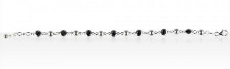 Bracelet Argent ALT BOULE/ROND NOIR