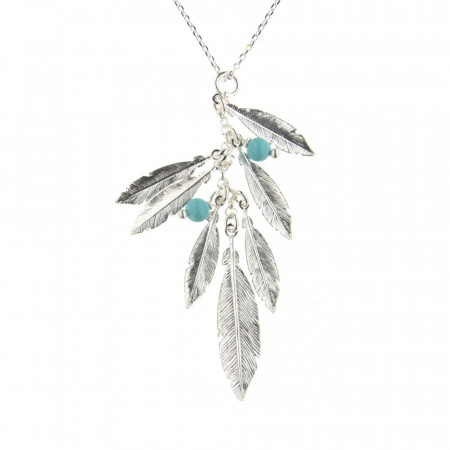 CollierArgent PLUME Turquoise synt. - 42cm