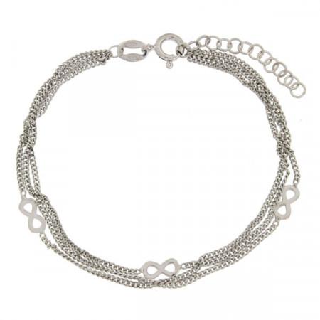Bracelet Argent 3 rangs Infini  L: 16+2,5cm