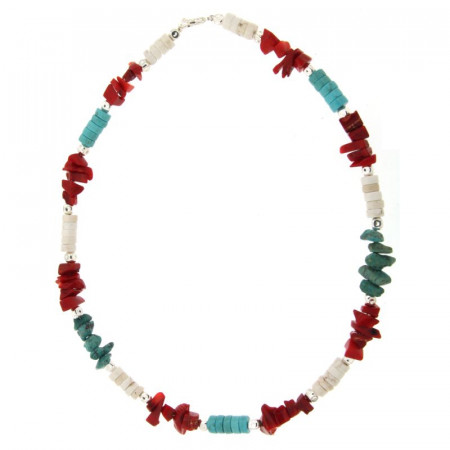 Collier Argent MASSAÏ/2  Chips/disk Turquoise/rouge/blanc 40cm