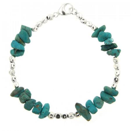 Bracelet Argent MASSAÏ/2  CUBI Chips turquoise 19cm