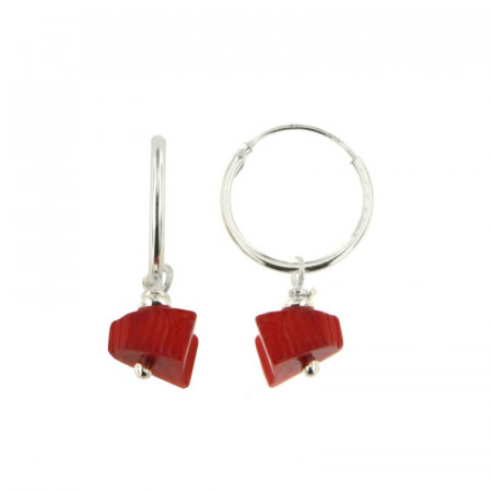 Créoles Argent MASSAI/2 -  MINI 1 Chips rouge