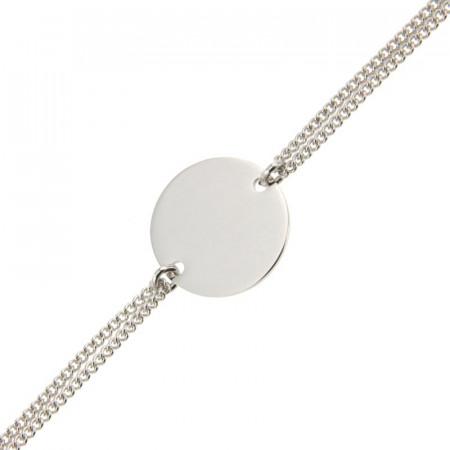 Bracelet Argent Disque 15 - Double gourmette 18+2cm