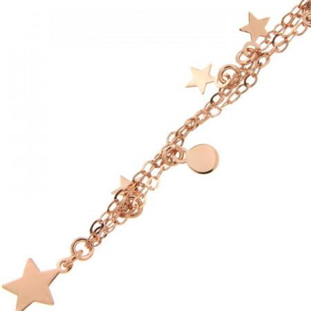 Bracelet Argent 3 rangs Etoile & mini disque 17+2cm _ Rose