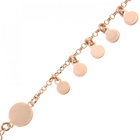 Bracelet Argent 1 rang  mini disque 16+2cm - Rose
