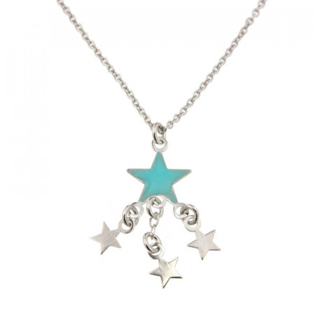Collier Argent Etoile turquoise & 3 étoiles 40+5cm