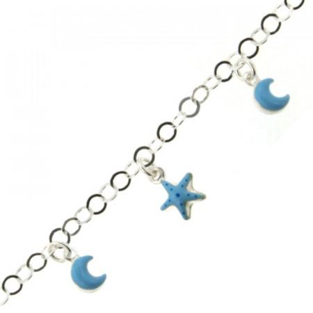 Bracelet Argent Enfant LUNE & ETOILE Bleu ciel