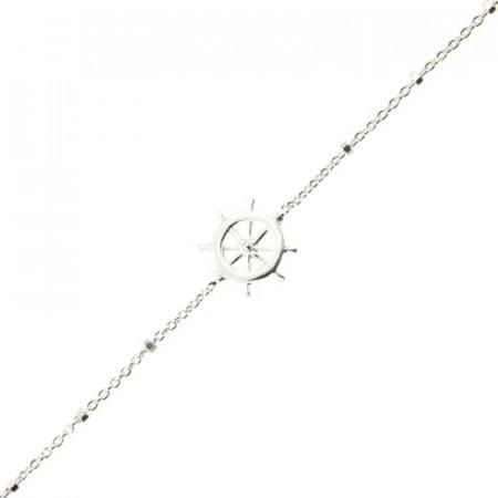 Bracelet Argent LA MER Roue marine / Mini cube 18+2,5cm