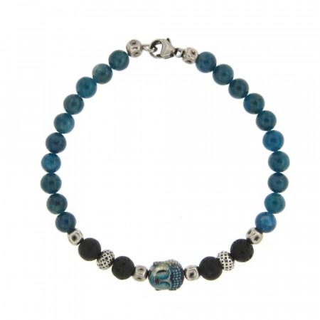 Bracelet Argent ANTIKA D6 Bouddha - Apatite 22cm