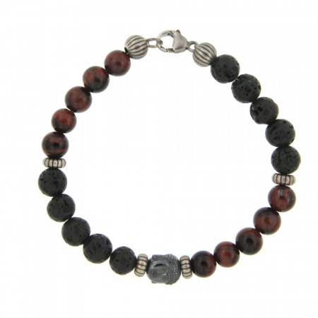 Bracelet Argent ANTIKA D8 Bouddha - Oeil de tigre rouge taureau22cm