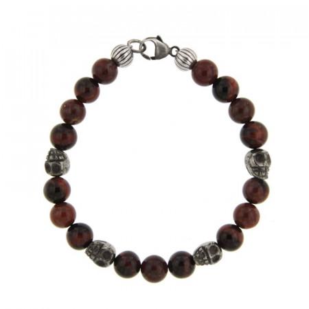 Bracelet Argent ANTIKA D8Jaspe Brescia & Oeil Tigre taureau - Tête/mort pierre