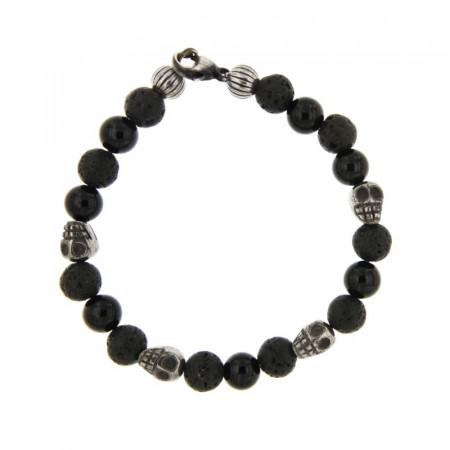 Bracelet Argent ANTIKA D8 Lave & Onyx Brillant-Tête/mort pierre