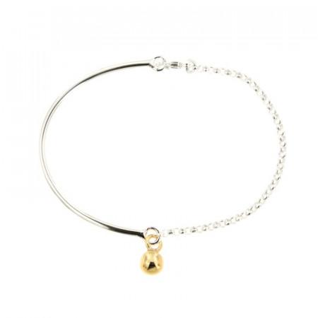 Bracelet Argent CHAKRA Semi-articulé FR20 - Boule 6 Jaune