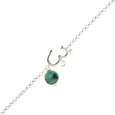 Bracelet Argent CHAKRA N°5 - AUM dans chaine - Turquoise synt 18+2cm