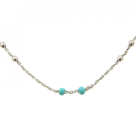 Collier Argent CH-Mini Boules 1/1 - Email Turquoise 40+2cm