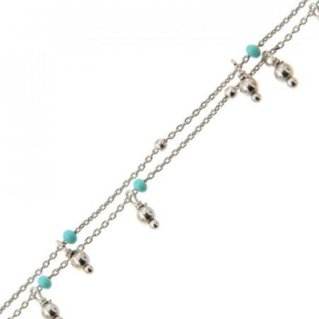 Bracelet Argent DOUBLE RANG - Email Turquoise 16+2cm