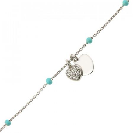 Bracelet Argent COEUR OZ/COEUR - Email Turquoise 16+2cm