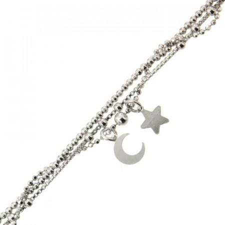 Bracelet Argent ETOILE/LUNE 3 rangs 18+3cm