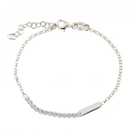 Bracelet Argent Barrette OZ+ plaquette 16+3cm