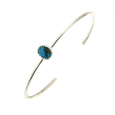 Bracelet Argent KHEOPS JONC 8/6 Turquoise