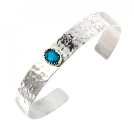 Bracelet Argent KHEOPS JONC10 Martelé 8/6 Turquoise