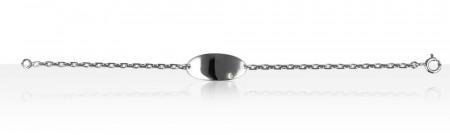 """Bracelet """"ECLAT"""" Argent 1 Diamant BB PLAQUE OVAL"""