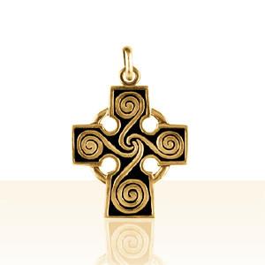 Croix Or CELTIQUE SPIRALE