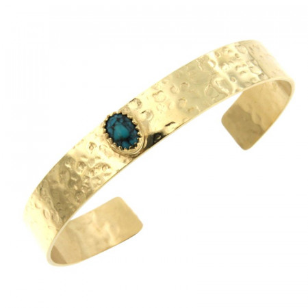 Bracelet Plaqué Or 8/6 KHEOPS JONC10 Martelé 8/6 Turquoise