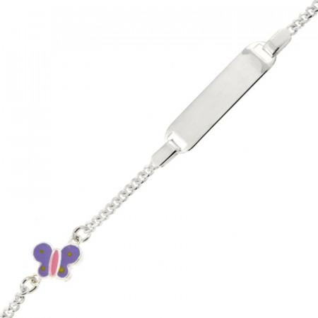 Bracelet Argent ENFANT Papillon parme L: 14 + 2cm