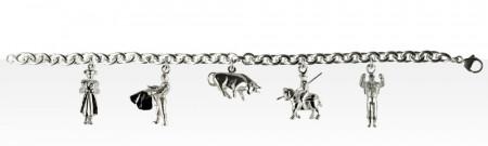 Bracelet Argent 5 Breloques CORRIDA