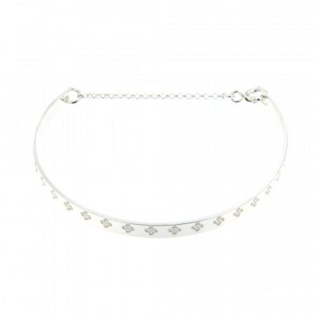 Bracelet Argent EDER Jonc Frise Croix Basque - Chainette