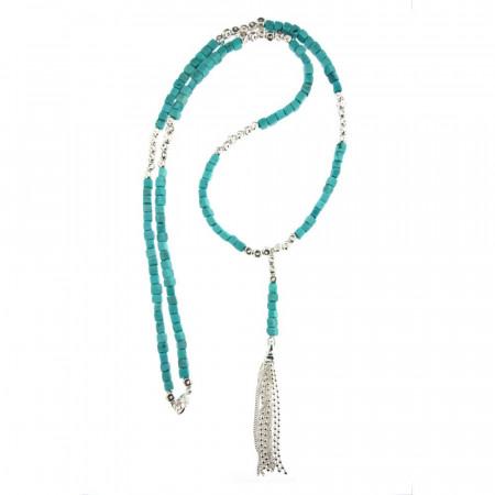 Sautoir Argent MASSAÏ Turquoise 80cm