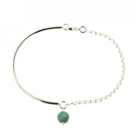 Bracelet Argent CHAKRA N°5 Semi-articulé FR20 - Pierre Naturelle