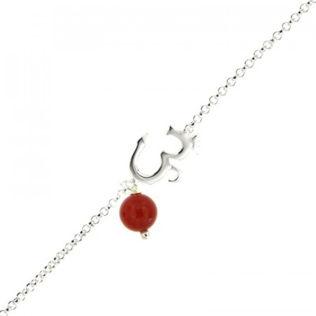 Bracelet Argent CHAKRA N°7 - AUM dans chaine - Améthyste 18+2cm