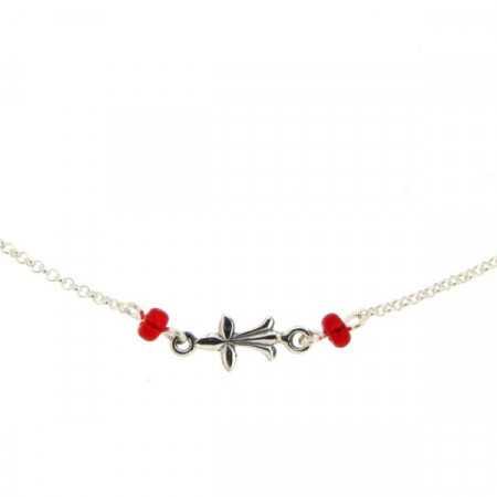 Collier Argent Hermine - perles rouge