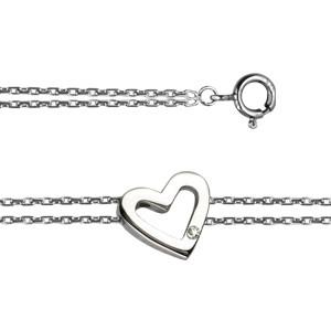"Bracelet ""ECLAT"" Argent  Diamant Coeur"