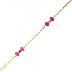 Bracelet fillette en Or noeud rose